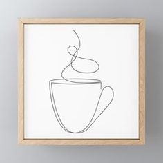 coffee drawing coffee or tea cup - line art Art Print by dronathan Abstract Line Art, Abstract Drawings, Art Drawings, Tea Cup Drawing, Coffee Drawing, Art Abstrait Ligne, Illustration Ligne, Single Line Drawing, Outline Art