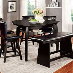 Hurley Modern Style Black Finish Counter Height Table Set * Learn more by visiting the image link.Note:It is affiliate link to Amazon.
