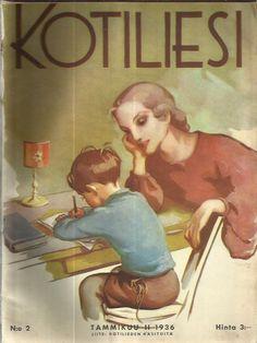 Kotiliesi Magazine cover by Martta Wendelin, Art Nouveau, Illustrations, Illustration Art, School Posters, Old Paintings, Christian Art, Heart Art, Vintage Postcards, Martini