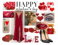 """""""Valentine's Day"""" by s-a-a-d-i-a ❤ liked on Polyvore featuring Bellezza, TheBalm, Casetify, Charbonnel et Walker and Christian Louboutin"""
