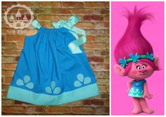 Princess Poppy DressPoppy Dress Poppy Troll Birthday by SewPinky Trolls Birthday Party, Troll Party, Birthday Party Outfits, 4th Birthday Parties, Birthday Fun, Themed Parties, Birthday Ideas, Bolo Trolls, Third Birthday