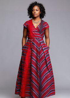 Hadiya African Print Faux Wrap Maxi Dress (Red/Grey)- Clearance at Diyanu African Formal Dress, African Maxi Dresses, Ankara Dress Styles, African Traditional Dresses, African Attire, African Wear, Formal Dresses, African Style, Moda Afro