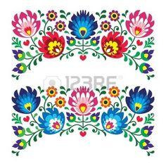 Lengyel virágos népi hímzés minták kártya photo