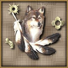 Sparkling wolf with feathers
