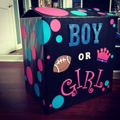 Our gender reveal box! Husband made the entire thing! Ready for the reveal at Baby Cichocki! Team Blue or Team Pink Gender Reveal Box, Baby Gender Reveal Party, Gender Party, Deco Baby Shower, Bebe Shower, Baby Shower Themes, Shower Ideas, Gender Announcements, Gender Reveal Decorations