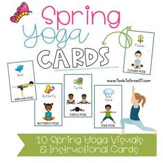 Spring themed resources and yoga cards for occuptional therapists, physical therapists, and speech language pathologists. Preschool Yoga, Free Preschool, Preschool Activities, Yoga For Kids, Exercise For Kids, Yoga Games, Childrens Yoga, Flashcards For Kids, Shapes For Kids