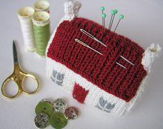knitted house pincushion. Reminds me of mum Irish cottage ornament