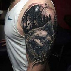 erkek üst kol ayı dövmesi man upper arm bear tattoo