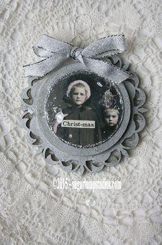 Christmas Vintage Ornament Collage by Sugar Lump Studios