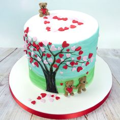 Heart Confetti Tree Cake with Teddy Bears on a date!
