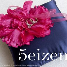 Hot Pink and Navy Wedding Ring Pillow