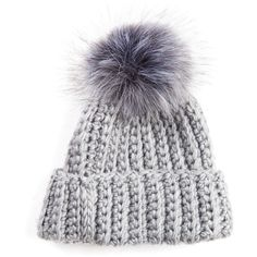 c0ab7b7c6ee Melange Gray Classic Knit Beanie with Fur Pom ( 95) ❤ liked on Polyvore  featuring