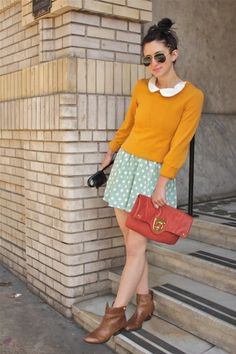 Mustard and mint polka dots!