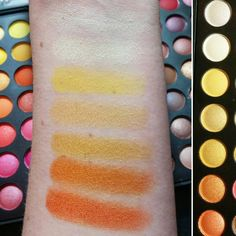 Coastal Scents Ultimate 252 palette. Top to bottom: Vanilla Sky, Polished Ivory, Orange Mousse, Golden Buttercup, Venetian Gold, Deep Cantaloupe, Tangerine Dream. Each shade is available as an individual hot pot.