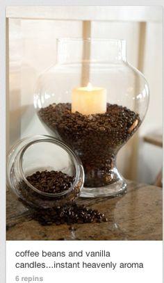coffee beans plus vanilla candle. delish