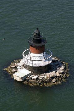 Aerial view of Plum Beach Lighthouse, RI