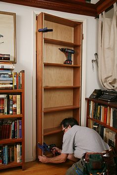 DIY Tutorial for hidden door bookcase. A mandatory feature in my future house. DIY Tutorial for hidden door bookcase. A mandatory feature in my future house. Hidden Door Bookcase, Bookcase Plans, Bookcase Storage, Diy Bookshelf Door, Door Shelves, Bookshelf Design, Corner Shelves, Closet Storage, Bedroom Storage