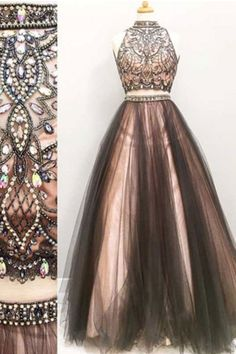 Two Piece Prom Dresses#TwoPiecePromDresses Tulle Formal Gown#TulleFormalGown Long Prom Dress#LongPromDress Custom Prom Dresses#CustomPromDresses