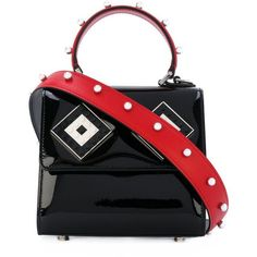 Les Petits Joueurs Baby Alex Mask Spheres Patent Leather Shoulder Bag ($670) ❤ liked on Polyvore featuring bags, handbags, shoulder bags, black, patent leather tote, shoulder bag purse, tote bag purse, tote purses and handbags totes