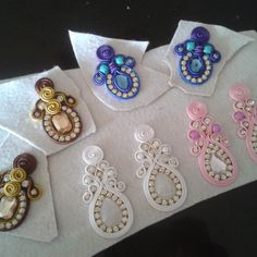 Handmade Beaded Jewelry, Soutache Jewelry, Fabric Jewelry, Sewing Projects For Beginners, Diy Accessories, Shibori, Ribbon, Ear, Huaraches