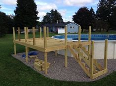 Above the ground pool deck: He trimmed the vertical beams to a much more manageable height. Above Ground Pool Landscaping, Above Ground Pool Decks, Backyard Pool Landscaping, In Ground Pools, Landscaping Ideas, Oberirdische Pools, Lap Pools, Indoor Pools, Decks Around Pools