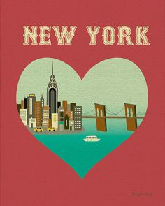 New York and Heart  Travel Poster Print Art  style by loosepetals