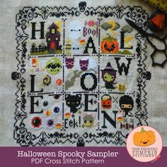 **WANT**Halloween Spooky Sampler PDF Cross Stitch Pattern / The Frosted Pumpkin Stitchery