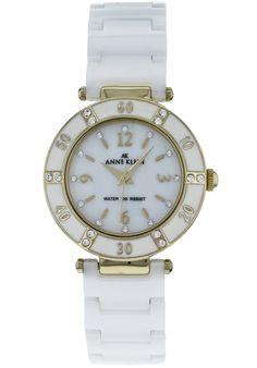 Anne Klein women's white mother of pearl dial white ceramic watch Anne Klein, Stainless Steel Case, White Ceramics, Bracelet Watch, Quartz, Mineral Water, Watches, Pearls, My Style