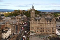 The Balmoral - luxury hotel - and the bustling Princes Street. The north see is the edinburgh usual background along with the hills - here the Calton Hill.
