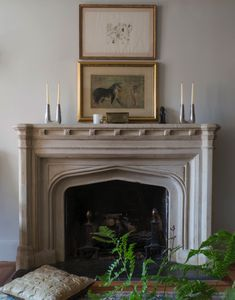 Mantle Makeover: How To Give Your Hearth a New Look // mantle decorating ideas, stone fireplace, gold mirrors, floor pillow Eclectic Living Room, Formal Living Rooms, Living Spaces, Fireplace Surrounds, Fireplace Design, Foyers, Best Interior Design, Interior Decorating, Mantle Decorating