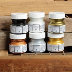 Fusion™ Gilding Paste is a high viscosity sunflower oil saturated with pigment. We have 4 beautiful metallic colors; Metallic Bronze, Metallic Copper, Metallic Pale Gold, Metallic Silver, and two accent colors; Antiquing and White. Metallic Colors, Metallic Paint, Gilding Wax, Aged Copper, Art And Craft, Mineral Paint, Milk Paint, House Painting, Painting Tips