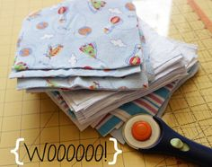 DIY cloth wipes with faked serged edges.
