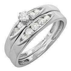 0.50 Carat (ctw) Sterling Silver Round White Diamond Engagement Bridal Ring Set Matching Anniversary Wedding Band...