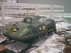 """John Deere snowmobile.  The slogan """"Nothing Runs Like a Deere"""" came from the marketing of the John Deere snowmobile!"""