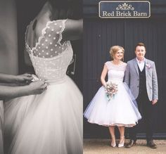 Cap sleeved Polka Dot Wedding Dress with lace edge