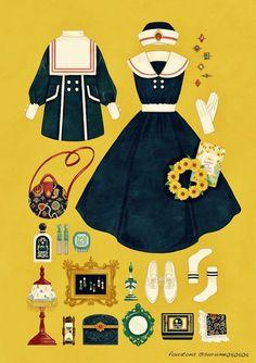 New clothes drawing dresses costume design ideas Vintage Fashion Sketches, Fashion Design Drawings, Fashion Vintage, Anime Outfits, Cute Outfits, Fashion Art, Trendy Fashion, Estilo Lolita, Illustration Mode