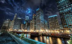 awesome Chicago Night Lights Background Image