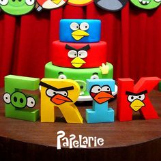 Awesome cake at an Angry Birds birthday party! See more party planning ideas at CatchMyParty.com!