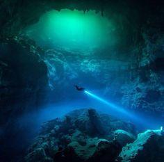 Cave diving in Tulum, Mexico.