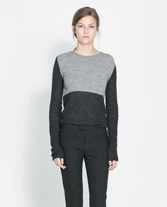 Image 2 of TWO-TONE SWEATER from Zara