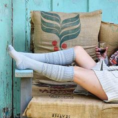 Lounging in patterned socks
