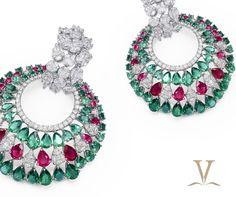 Varuna d jani # diamond jewellery # ruby and emerald earring