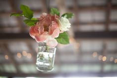 Hanging flowers in Mason jars. #Southern #weddings Lenora's Legacy Estate Photo Gallery