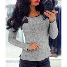 Stylish Jewel Neck Long Sleeve Bowknot Embellished Women's T-Shirt