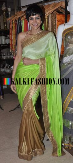 http://www.kalkifashion.com/ Mandira Bedi in half and half shade saree attends the Araish exhibition held by Sharmila and Shaan Khanna