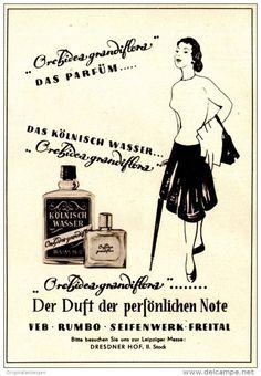 Original-Werbung/ Anzeige DDR / GDR 1958 - PARFÜM ORCHIDEA GRANDIFLORA / VEB RUMBO SEIFENWERK FREITAL - ca. 115 x 160 mm