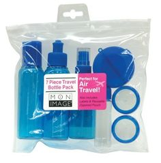 Mon Image 7 Piece Travel Bottle Pack, Colors may vary by Mon Image. $5.81. Labels included. Clear pouch included for convenience. All containers adhere to TSA guidelines. This bottle kit is a perfect accessory for the frequent traveler.