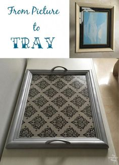 How to transform a picture into a tray Repurpose an old picture before after Damask gift paper Via Picture Frame Projects, Old Picture Frames, Old Frames, Crafts With Picture Frames, Picture Frame Tray, Frames Ideas, Diy Projects To Try, Crafts To Make, Diy Crafts