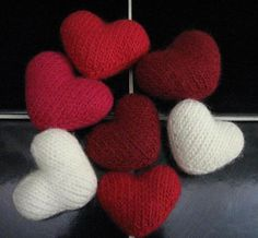 This is a small heart, knit in the round and completely seamless. It was designed to be felted, but that is completely optional. There are some interesting techniques used, making it a good learning project.