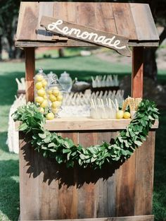 Lemonade Stand Bar for a Whimsical Summer Wedding | Danielle Poff Photography on @heyweddinglady via @aislesociety